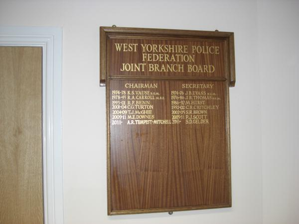 Honours Board for West Yorkshire Police Federation